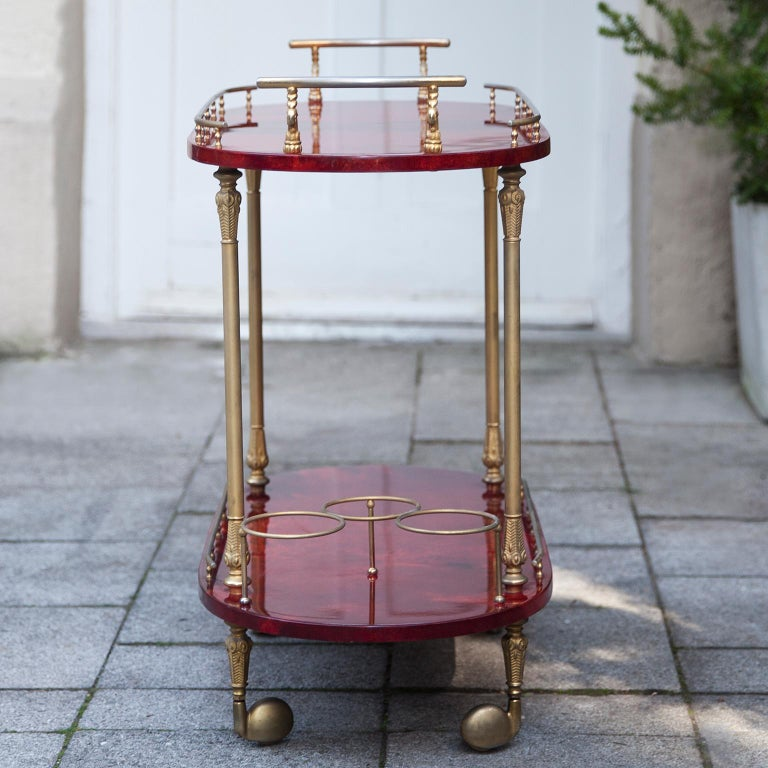 Aldo Tura Red Goatskin Bar Cart In Excellent Condition For Sale In Munich, DE