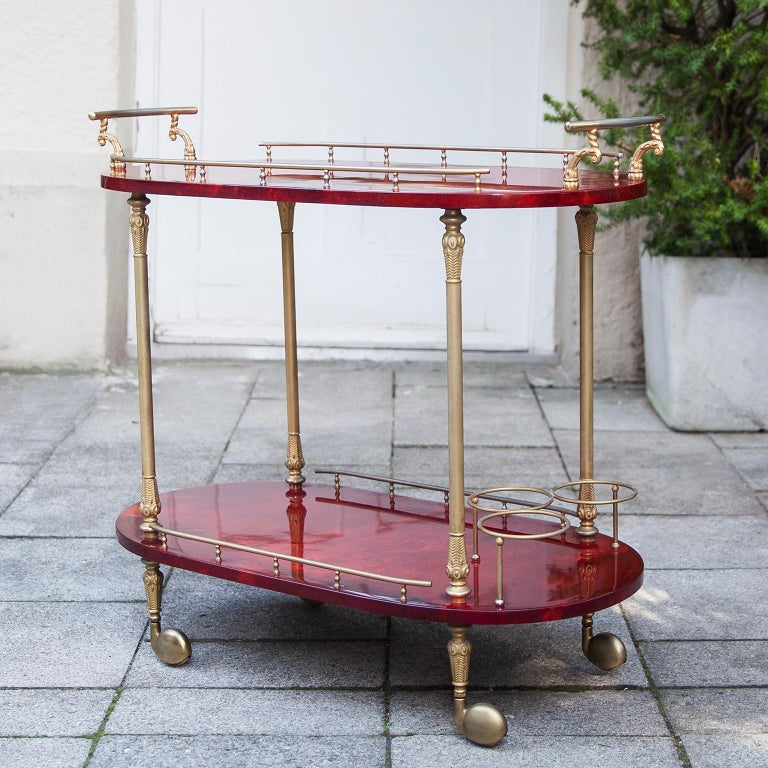 Mid-20th Century Aldo Tura Red Goatskin Bar Cart For Sale