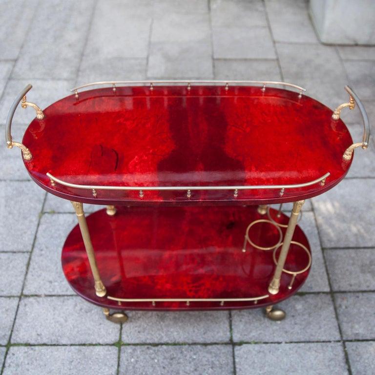 Brass Aldo Tura Red Goatskin Bar Cart For Sale