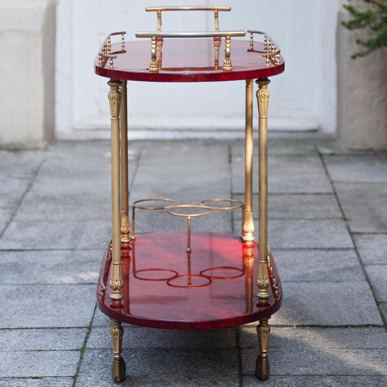 Aldo Tura Red Goatskin Bar Cart For Sale 2
