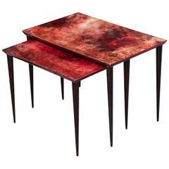 Aldo Tura Red Goatskin Nesting Tables, Italy, 1960s
