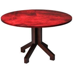 Aldo Tura Red Parchment and Mahogany Table