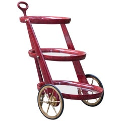 Aldo Tura Red Parchment Three Story Bar Cart
