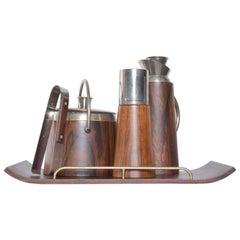 Aldo Tura Refined Rosewood Barware Tray Set Ice Bucket Carafe Shaker Italy 1950s