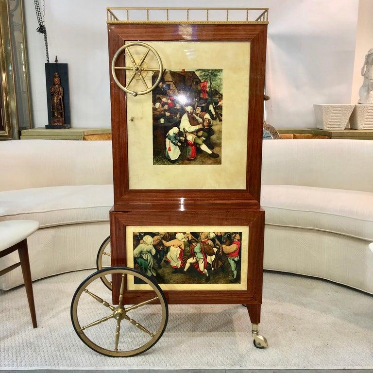 Mid-Century Modern Aldo Tura Rolling Bar Cabinet For Sale