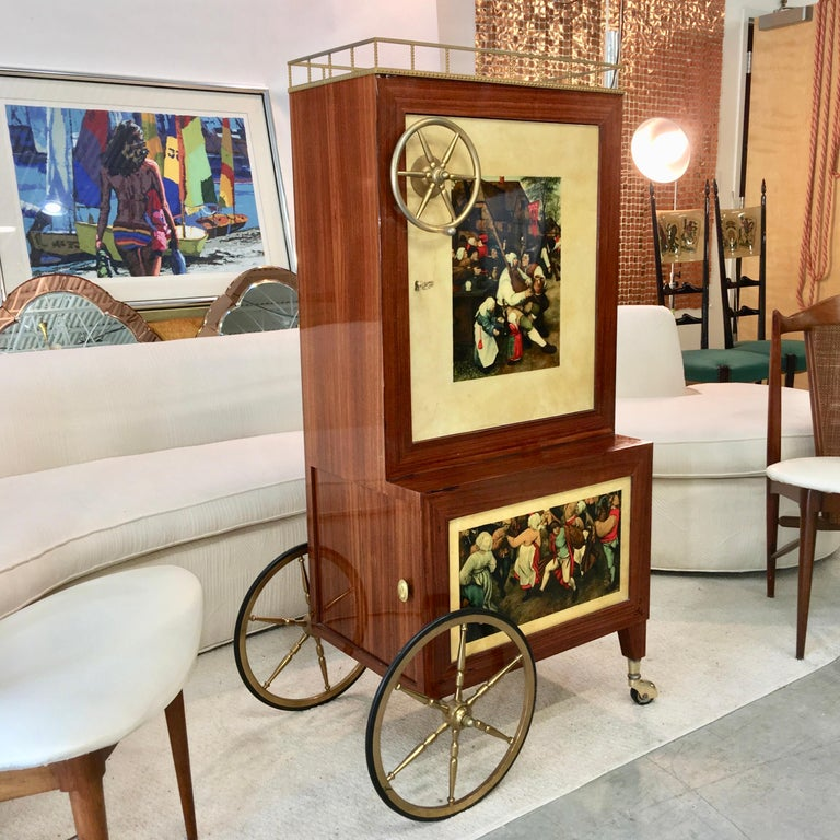 Italian Aldo Tura Rolling Bar Cabinet For Sale