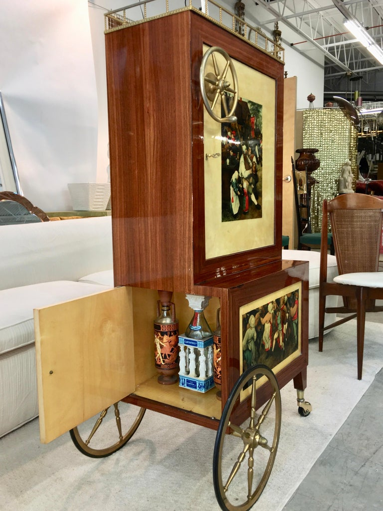 Lacquered Aldo Tura Rolling Bar Cabinet For Sale