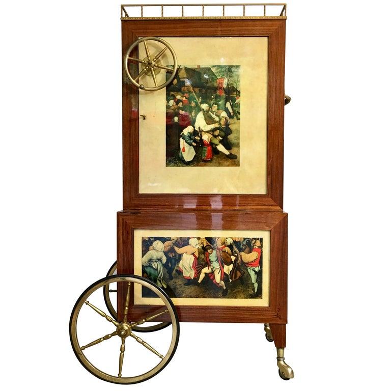 Aldo Tura Rolling Bar Cabinet For Sale