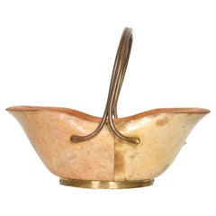 Aldo Tura Sculptural Serving Dish with Bronze Carry Handle Macabo Cusano, Italy
