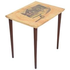 Aldo Tura Side Table Goat Skin Mahogany Fornasetti Renaissance Art, Italy, 1950s