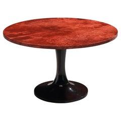 Aldo Tura Side Table in Red Colored Goatskin