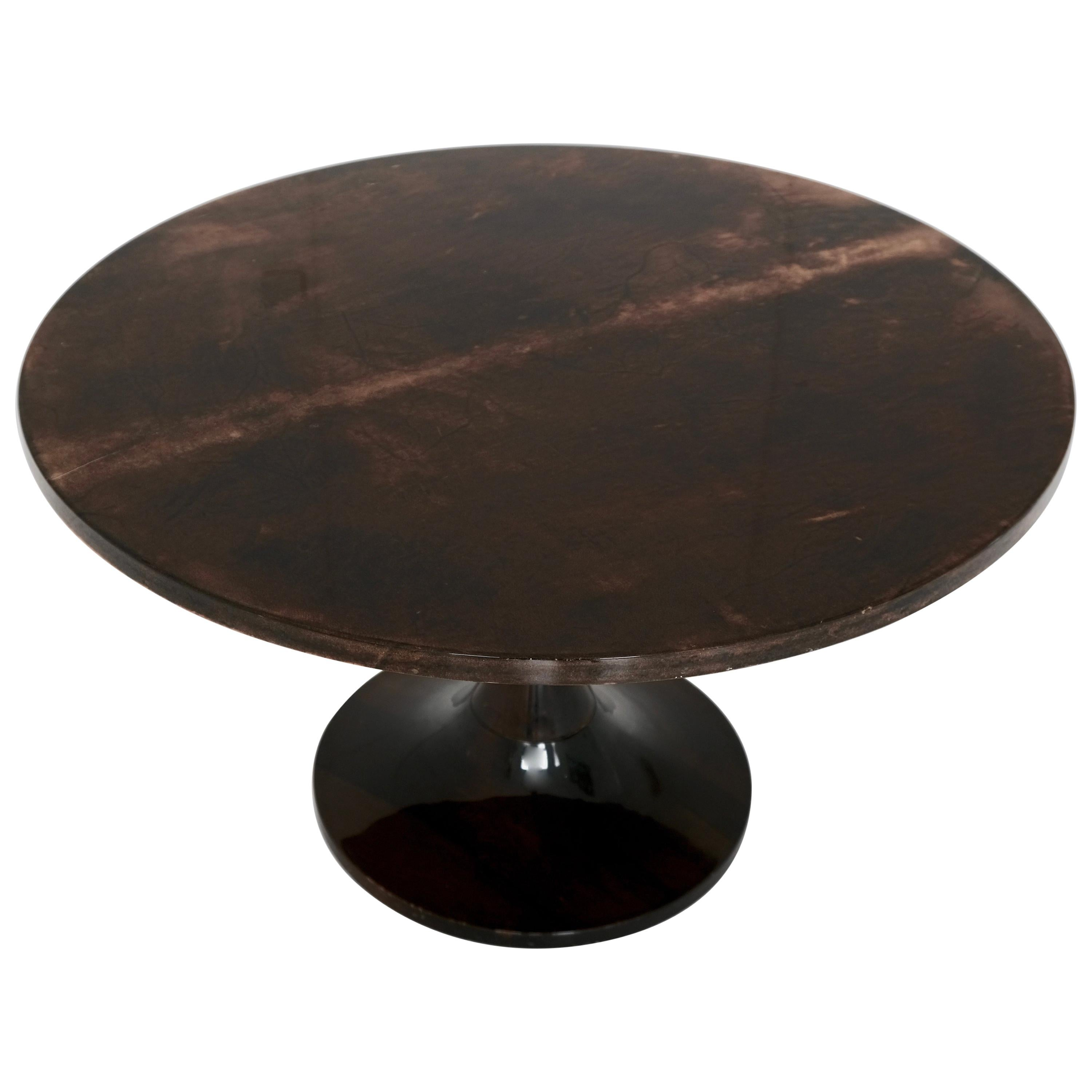 Aldo Tura Side Table with Lacquered Goat Skin, Italy, 1960s