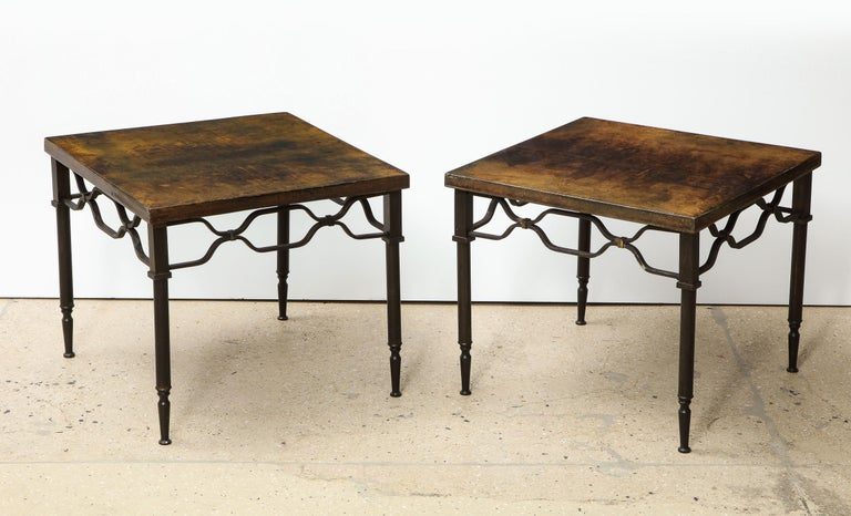 Lacquered goat skin and brass end tables by Aldo Tura.