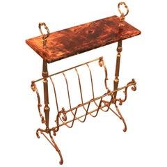 Aldo Tura Signed Goatskin or Vellum Covered Gold Brass Magazine Rack Side Table