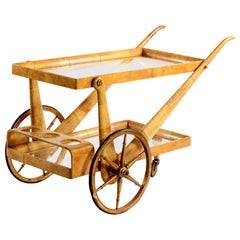 Aldo Tura Signed Midcentury Italian Cart for Food and Bottles