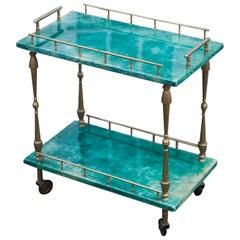 Aldo Tura Small Green Goatskin Rectangular Serving Cart