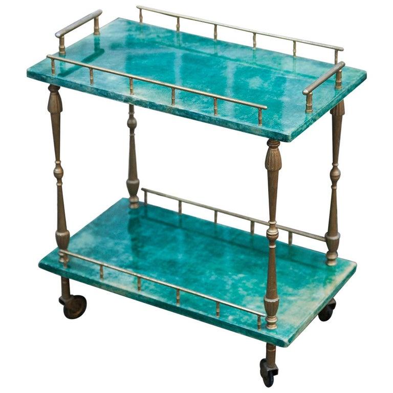 Aldo Tura Small Green Goatskin Rectangular Serving Cart For Sale