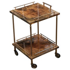 Aldo Tura Small Serving Bar Cart Light Brown