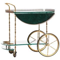 Aldo Tura Style Italian Goatskin Lacquer & Brass Bar Cart, circa 1960
