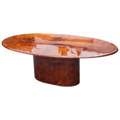 Aldo Tura Tobacco Goatskin Oval Dining Table, Italy