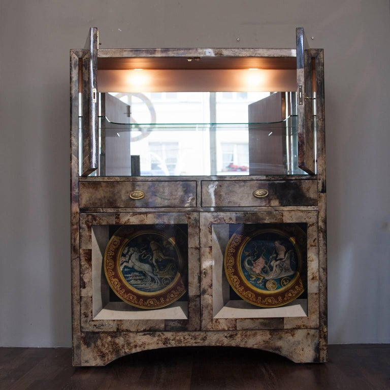 Hollywood Regency Aldo Tura Trompe L'Oeil Bar Cabinet, Italy, 1960 For Sale
