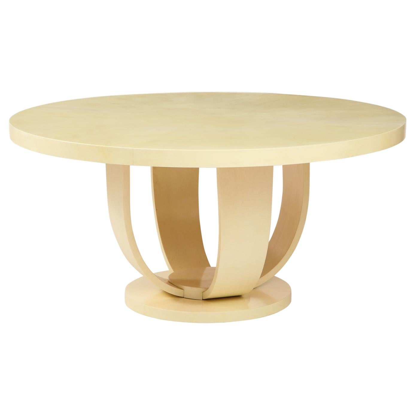 Aldo Tura Unique Ivory Lacquered Goatskin Center or Dining Table, Italy, 1970s