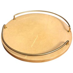 Aldo Tura Yellow Goatskin Round Tray