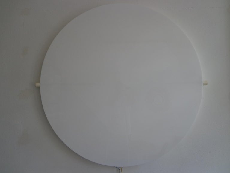 "Rare and important ""Circle"" wall light. Translucent perspex with TL-tube light. Signed with paper label by designer / manufacturer. Permanent collection of Museum Cuypershuis, Roermond, Netherlands. US plug included!  Measures: Diameter 120 cm,"