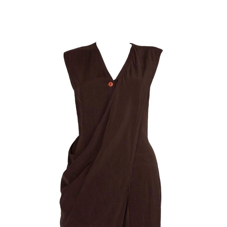 Women's Aldofo Dominguez 1980s Vintage Two-Way Silk Dress
