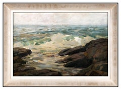 A.T. Hibbard Original Oil Painting On Canvas Board Signed Seascape New England