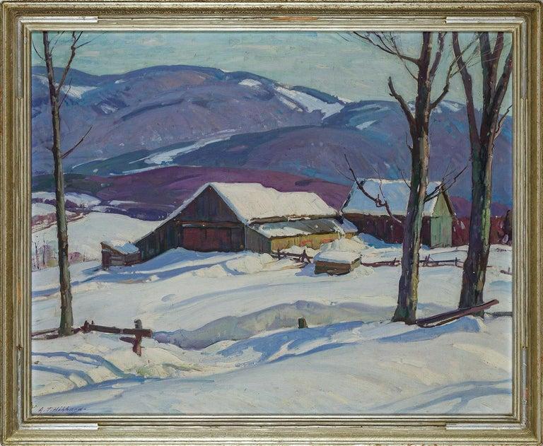 Vermont Farm in Winter, Aldro Hibbard, New England Impressionist Snow Landscape - Painting by Aldro Thompson Hibbard