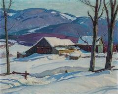 Vermont Farm in Winter, Aldro Hibbard, New England Impressionist Snow Landscape
