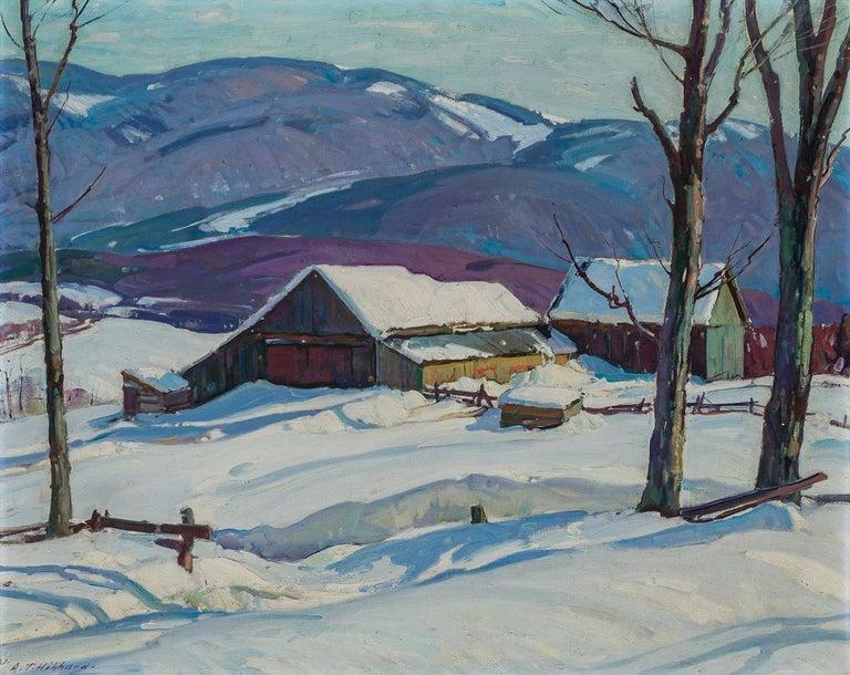 Aldro Thompson Hibbard Landscape Painting - Vermont Farm in Winter, Aldro Hibbard, New England Impressionist Snow Landscape