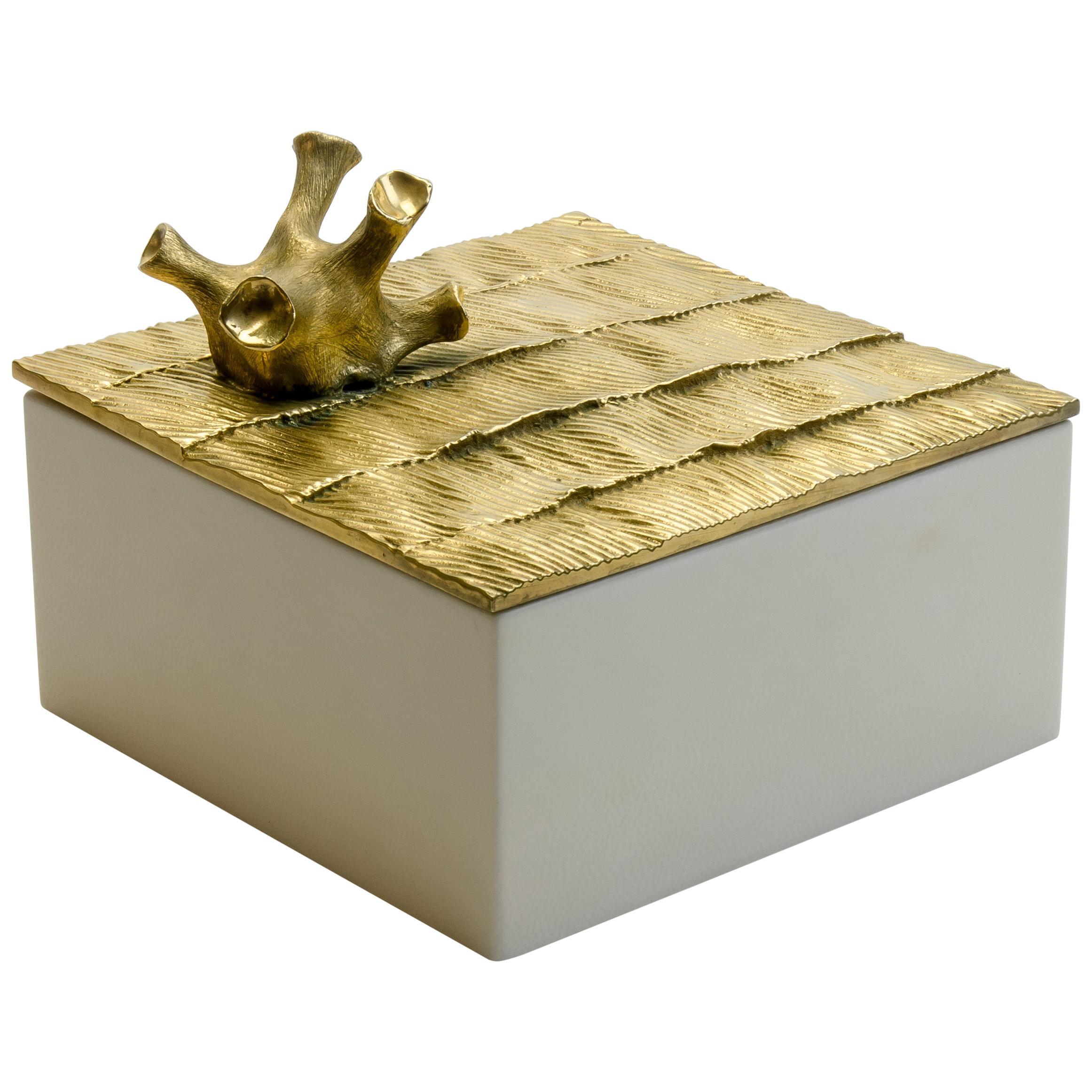 """Aldus, """"Coral Parchment"""" Box, Parchment, Gilded Bronze Decoration, Contemporary"""