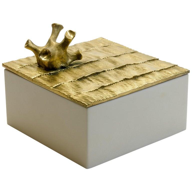 """Aldus, """"Coral Parchment"""" Box, Parchment, Gilded Bronze Decoration, Contemporary For Sale"""