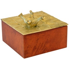 "Aldus, ""Coral Parchment"" Box, Parchment, Gilded Bronze Decoration, Contemporary"