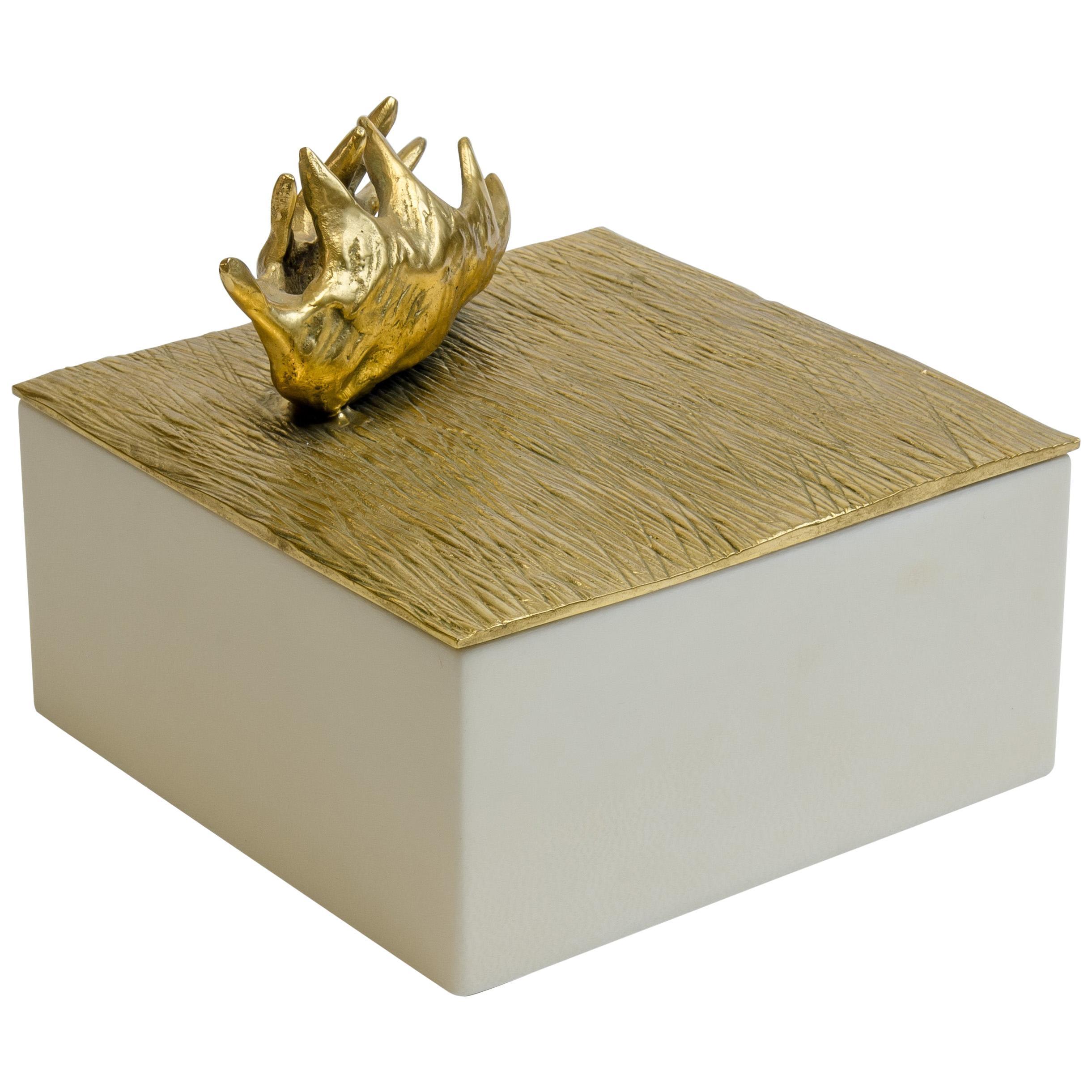 """Aldus, """"Dionea Parchment"""" Box, Parchment, Gilded Bronze Decoration, Contemporary"""