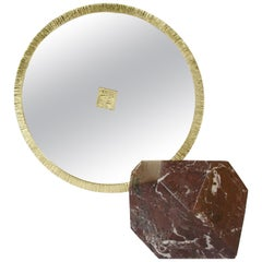 """Aldus, """"Ebe,"""" Bronze and Marble Table Mirror, Italy, 2017"""