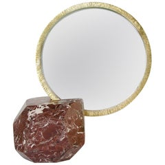 "Aldus ""Ebe"" Mirror Accessory, Marble, Polished & Protected Bronze, Contemporary"