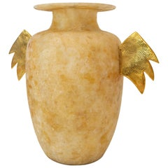 "Aldus ""Eos Con Ali"" Alabaster Vase with Cast Bronze Decoration, Contemporary"