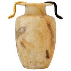 "Aldus ""Eos Con Serpenti"" Alabaster Vase, Cast Bronze Decoration, Contemporary"
