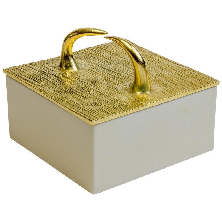 """Aldus, """"Horns Parchment"""" Box, Parchment, Gilded Bronze Decoration, Contemporary For Sale"""