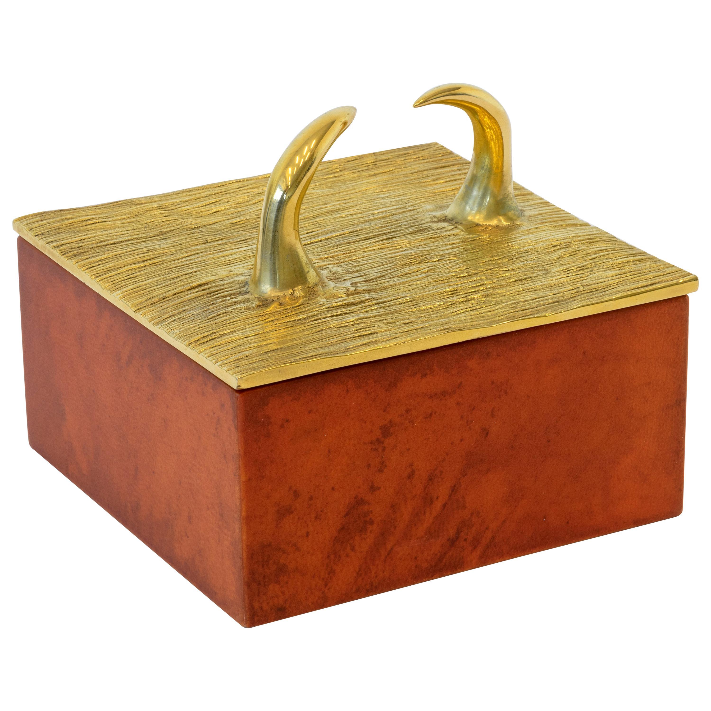 """Aldus, """"Horns Parchment"""" Box, Parchment, Gilded Bronze Decoration, Contemporary"""