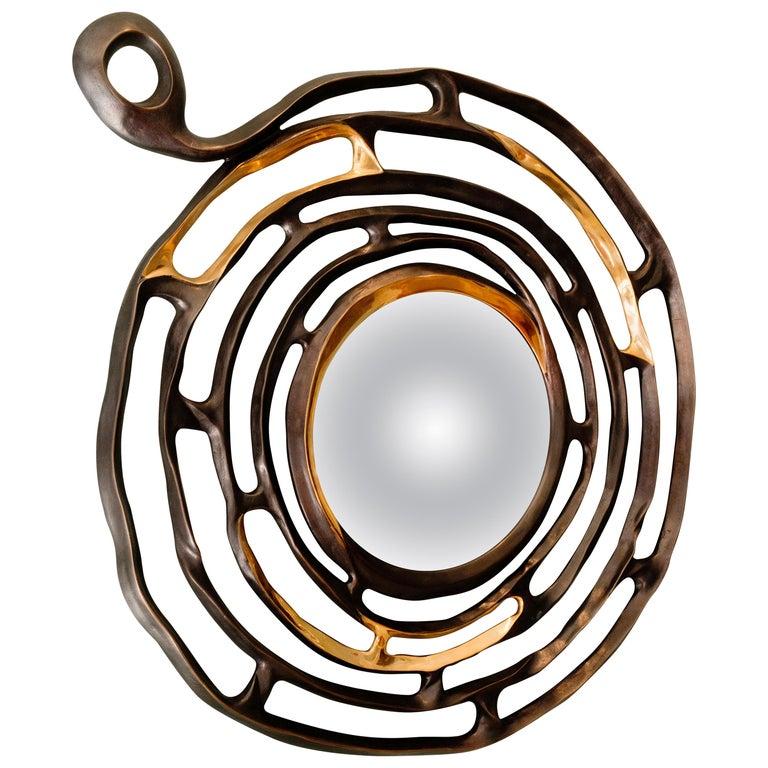 """Aldus, """"Minosse,"""" Bronze Hanging Mirror, Italy, 2018 For Sale"""