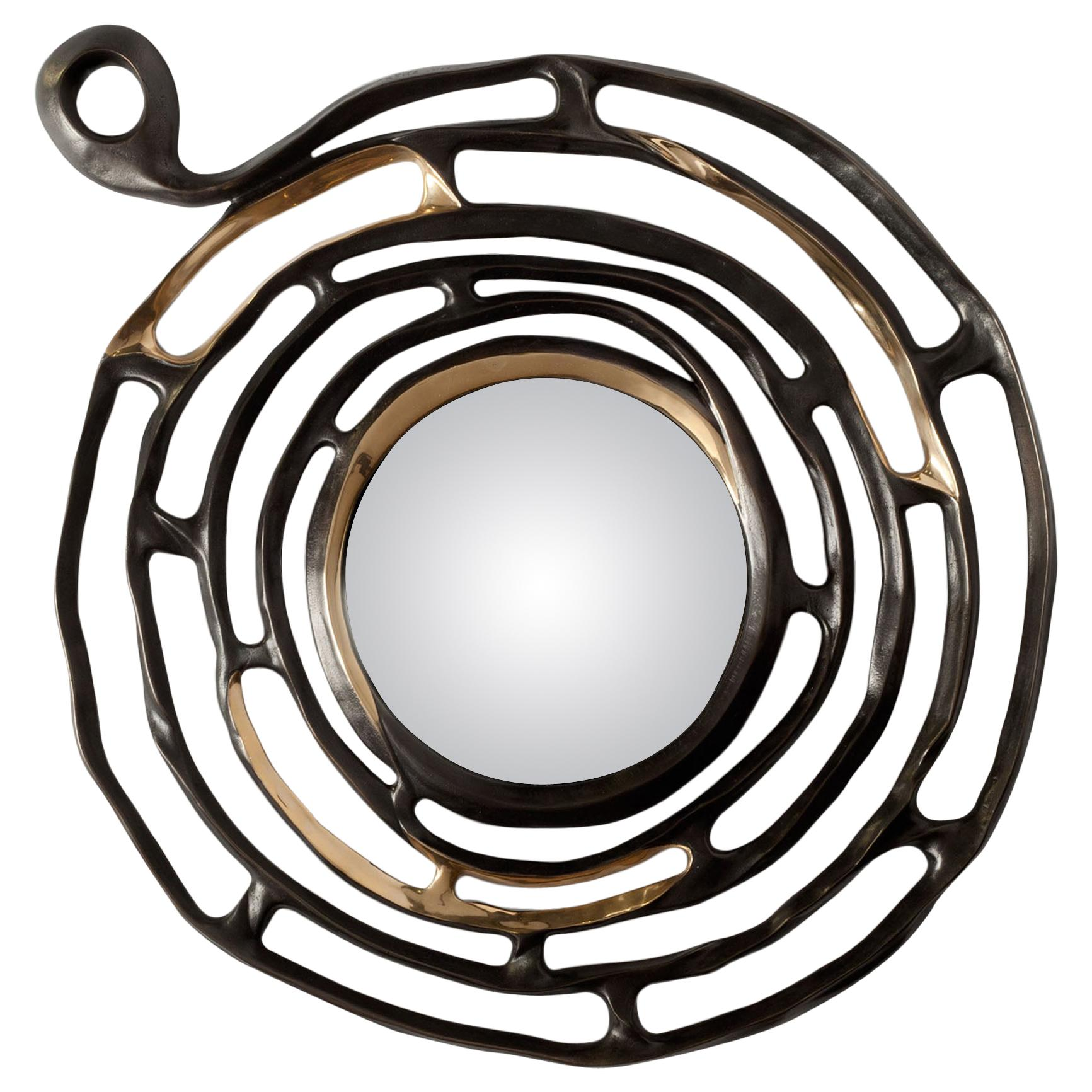 """Aldus, """"Minosse"""" Wall Mirror, Burnished and Polished Cast Bronze, Contemporary"""