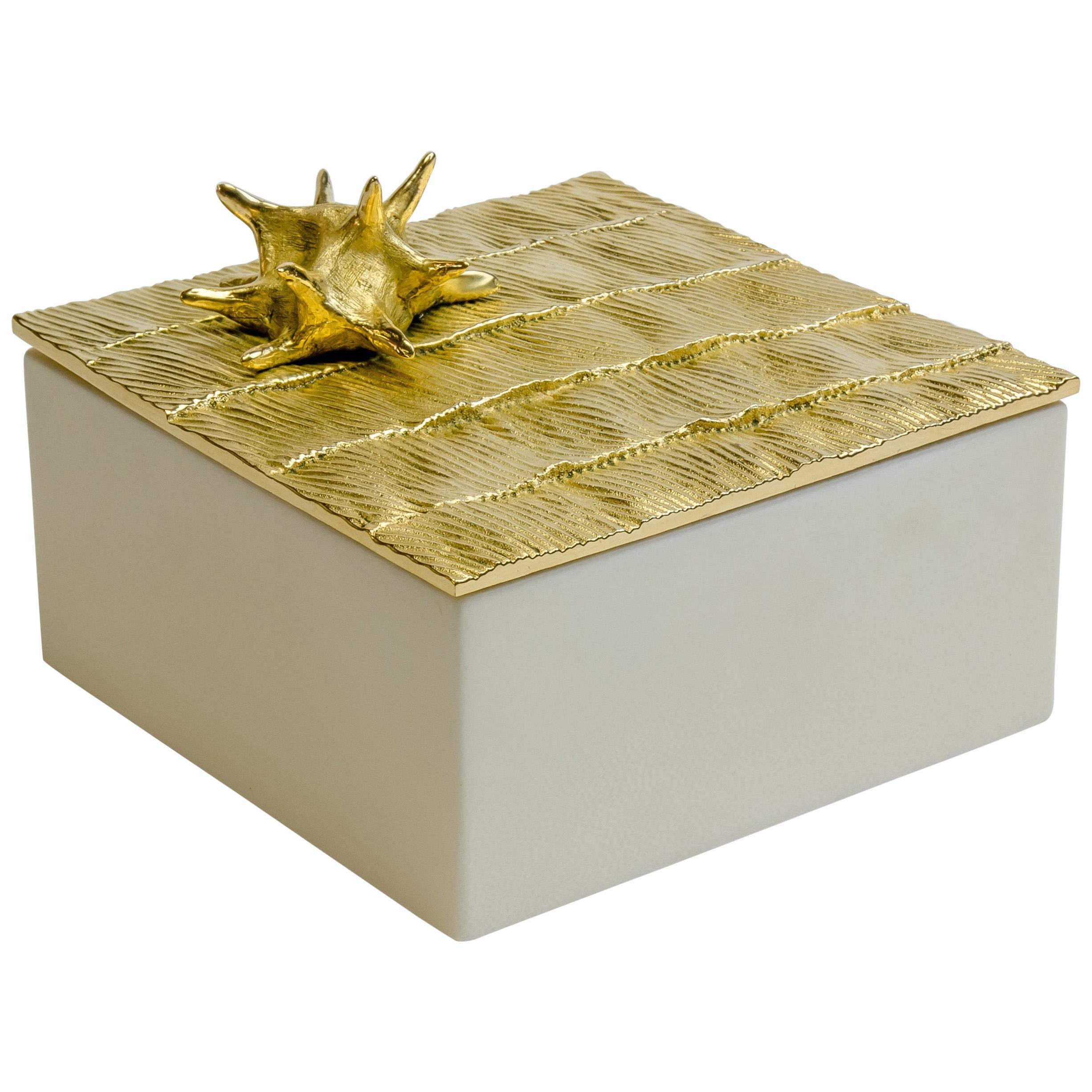 """Aldus, """"Star Parchment"""" Box, Parchment, Gilded Bronze Decoration, Contemporary"""