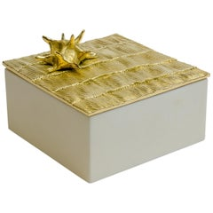 "Aldus, ""Star Parchment"" Box, Parchment, Gilded Bronze Decoration, Contemporary"