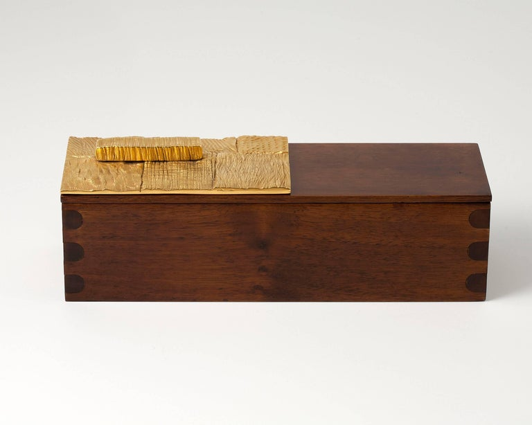 Decorative box by Aldus. Polished royal oak, interior lined with handwoven silk, and gilt bronze lid. Edition of 100.  A collaboration between Achille Salvagni and Fabio Gnessi, Aldus aims to Revive the aesthetic ideals of Greek and Latin