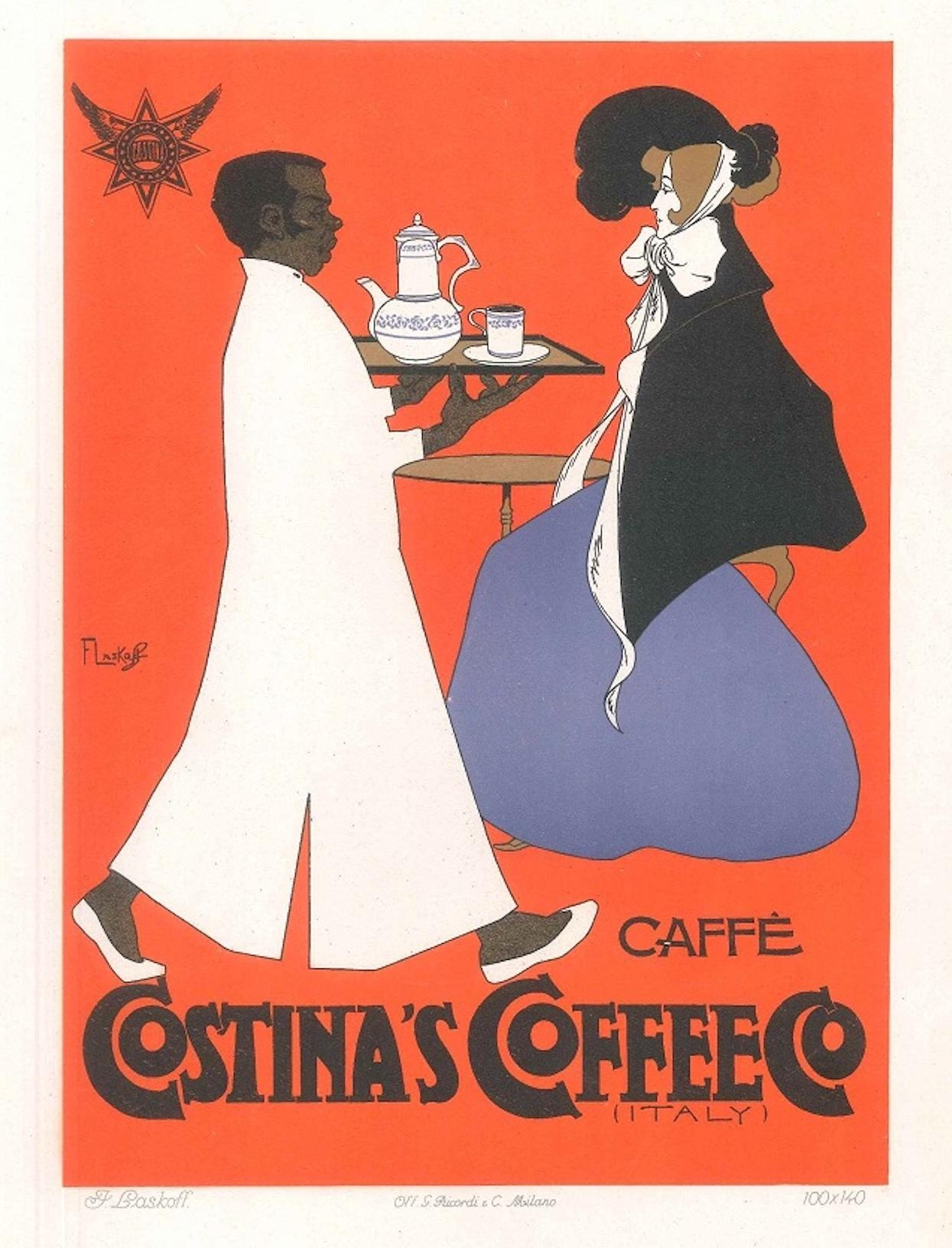 """vintage print painting poster retro art nouveau CAFE coffee advertising red 36/"""""""