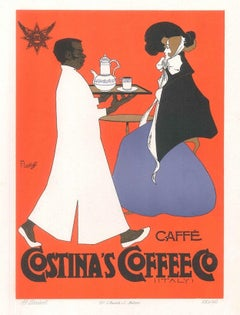 Costina's Coffee - Vintage Advertising Lithograph by A. Terzi - 1900 ca.